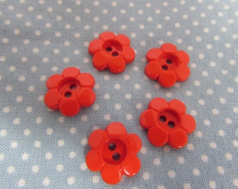 Red Daisy Flower Buttons