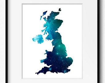 Great Britain and Northern Ireland Stars Watercolor Map Art Print (518) United Kingdom