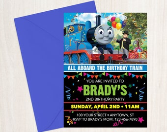 Thomas the Train Birthday Invitation - 5x7 DIY CUSTOM PRINTABLE