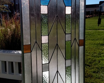 "Metropolis Stained Glass Window Panel 15"" x 33"""