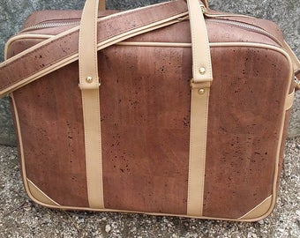 Cork Briefcase/ Business Bag/ Travel Bag / Weekender Bag/ Water Resistant Briefcase/ Vegan Bag - Brown