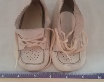 Vintage Baby Shoes with scalloped edges
