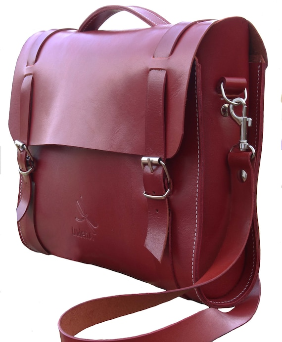 Leather briefcase - Leather business bag - Leather Shoulder Bag - Designed and handmade by Ludena