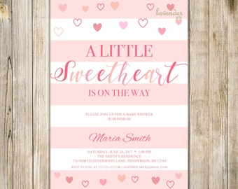 LITTLE SWEETHEART Invitation, VALENTINE Baby Shower Invite, Baby Girl Boy Sprinkle Invite, Sweetheart On The Way, Baby Valentine