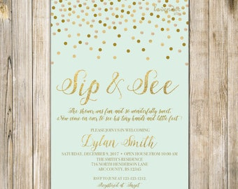 MINT SIP and SEE Invitation, Mint and Gold Confetti Sip & See Party Invite, Meet the Baby Open House, Digital Baby Girl Boy Shower Printable