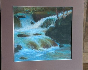 Beautiful pastel landscape scene of waterfall convergence, and surroundings with quality mounting circa 1990.
