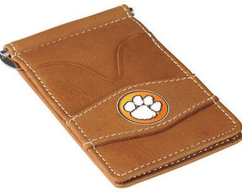 Clemson Tigers Tan Leather Wallet Card Holder