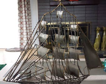 Vintage Metal Ship Scuplture Art Brutalist Decor Rustic Nautical Clipper Sailing Ship Signed and Dated