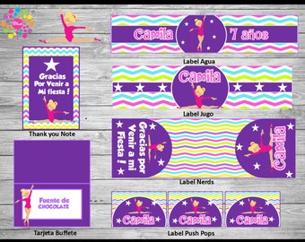 NEW!! GYMNASTICS  !! Printable Party Set! Customize!!