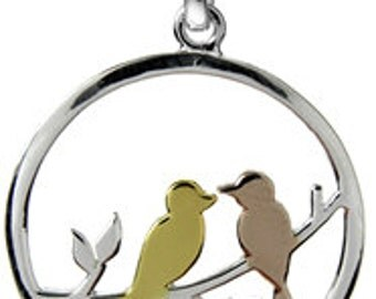 Sterling Silver Rose Gold Yellow Gold Lovebirds Pendant Necklace