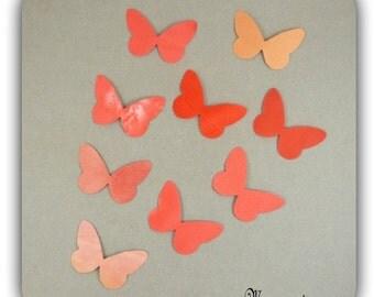 Wings Butterfly silk harmony orange-red stickers