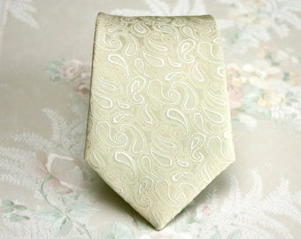 Champagne Paisley Tie Antique Cream Mens Tie Pastel Yellow Paisley Tie Pastel Yellow Paisley Necktie Wedding Ties Boom Bow TP181