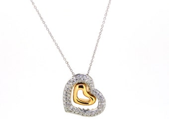 18K White and Rose Gold Diamond Open Pave Heart Pendant Necklace