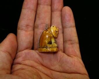 Thai Buddhist Carved Buffalo Bone Magic Words Tiger Amulet Pendant