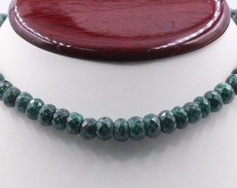 8mm Corundum Emerald Beaded Necklace