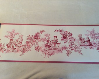 Vintage Waverly Wallpaper Border Toile