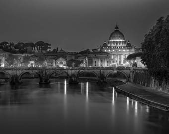 Italy, picture of Rome, black and white photography, Saint Peter's Basilica, Italy, photo of the Tiber River and the Vatican, print