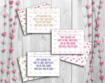 Printable Valentine's Cards Envelopes Bundle Set Boy Valentine's Card Girl Printable Friendship Day Card Desert Valentine's Camel Pink Card