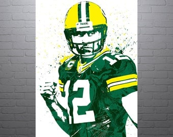 Aaron Rodgers Green Bay Packers Sports Art Print, Football Poster, Kids Decor, Watercolor Contemporary Abstract Drawing Print, Modern Art