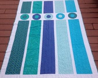 Handmade lap quilt - modern circles and stripes