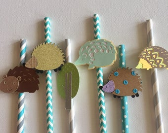 Decorative straws, hedgehog straws , woodland straws, paper straws