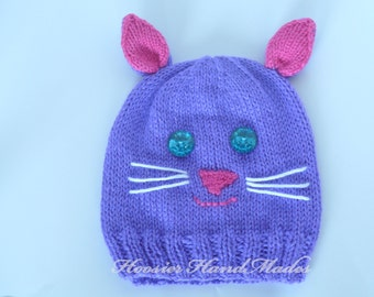 Handknit Kitty Cat Hat Child Size Made to Order More Colors Available