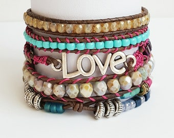 Leather wrap bracelet, Ibiza bracelet, Love bracelet, boho bracelet, women's wrap bracelet, five wrap, bohemian, mothers day gift.