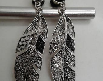 Antique silver feather style with black rhinestone ear plugs 2g, 4g, 6g