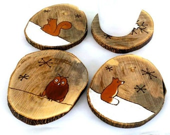 Woodland Coasters, Wood Coasters, Animal Coasters, Rustic Decor, Animal Lover Gift, Animal Lover Gift, Drink Coasters, Rustic Decoration