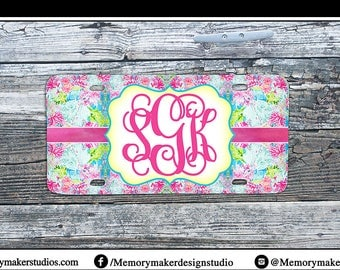 Preppy  Print Monogrammed Car Tag  Personalized License Plate Frame Personalized Vanity Plate  Personalized Car Tag