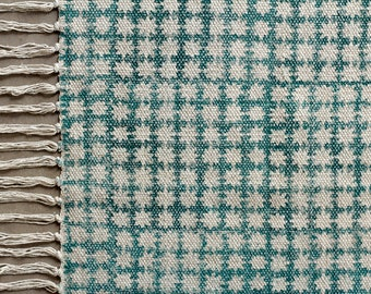 Medium rug, turquoise and white cotton, block print, hand-woven rug