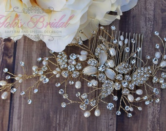 FAST Shipping!!! Gold Bridal Hair Comb, Wedding Hair Comb, Crystal Hair Comb, Swarovski Hair Comb, Hair Comb, Headpiece, Crystal Headpiece