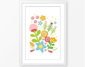 Flowers illustration scandinavian style,vintage style,kids poster,digital file,baby girl room decor,nursery decor,children's poster,wall art