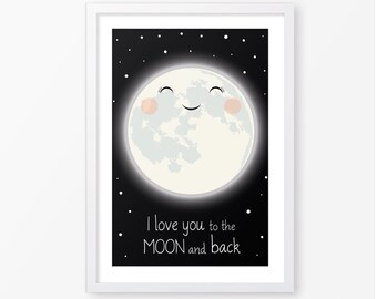 Love you to the moon poster,kids poster,nursery printable,black and white poster,nursery poster,kids room decor,nursery decor,baby wall art