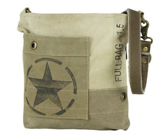 Sunsa woman shoulder bag canvas bag crossbody bag made of canvas and leather artnr.: 51778