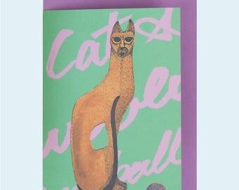 Handmade card - Cat & Woollen Ball