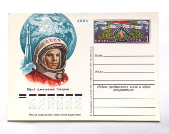 Yuri Gagarin, Open Letter, Unused Postcard, Space, Soviet Union Vintage Postcard, made in USSR, 1975