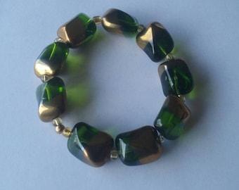 Green and Gold Bracelet Set