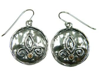 SHABLOOL earrings, sterling Silver earrings, women earrings, dangle Earrings, shampagne cz earrings, silver earrings, earrings from israel