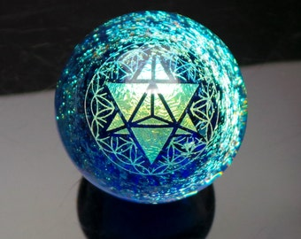 39mm Double Tetrahedron Sacred Geometry over Dichroic Swirl Borosilicate Glass Lampworked Marble