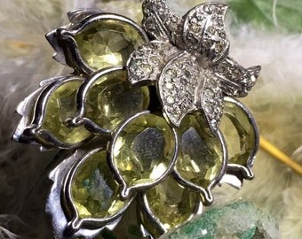 RARE Penino Peridot and Rhodium Sweater Clip or Pin Circa 1930-1940 Immaculate and Beautiful with Pavee Rhinestones and clear yellow petals