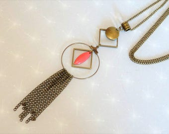 Necklace long bronze sequin coral pink enamel geometric diamond circle