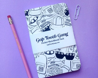 The GapToothGang Illustrated Sketchbook   Printed Notebook   Stationery Set   A6   Back To School