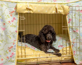 Dog Crate, Cover and Cushion Set in Seafoam Bird Trail and Yellow Dotty
