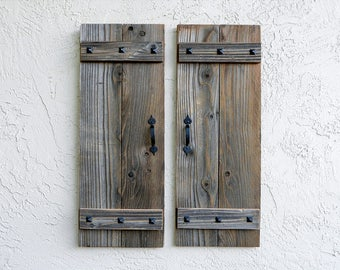 Rustic Shutters. Set of 2. Wooden Door Shutters. Rustic Barn Doors. Farmhouse Decor. Shutters Wall Decor. Industrial Rustic Wall Decor. L