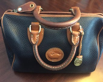Rare Authentic Dooney And Bourke Vintage Doctor's Bag, 1981-1982,Speedy Bag, Top Handle, Black and British Tan Pebbled Leather, NC Estate.