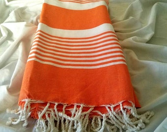 Hand Woven 100% Natural Cotton Blanket,throw,Tablecloth , Beach or Picnic Towel