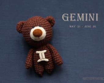 Gemini zodiac teddy bear - crochet zodiac toy, Gemini birthday present, horoscope Gemini gift, Gemini star sign - MADE TO ORDER