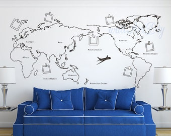 Vinyl World Map Wall Decal Large Map Wall Mural Map Of The - Map wall mural decal