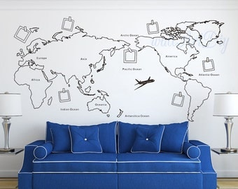 World Map Wall Decal Map Wall Sticker Travel Map Wall Decals World Map Wall  Murals White